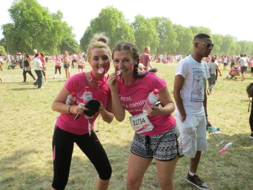 Michaela and Georgina at Hyde Park after the Race for Life 10k - July 2013